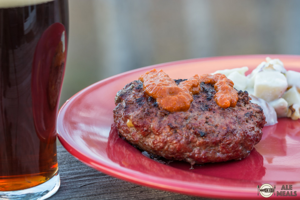 Amber Ale Stuffed Hamburger with Chipotle Amber Ale Ketchup