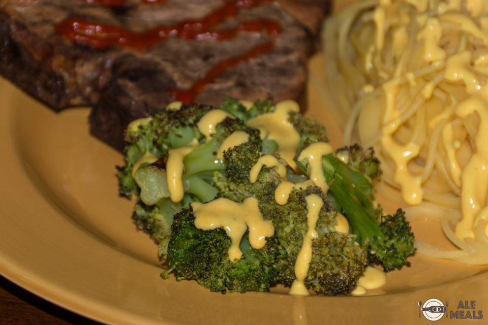 Sriracha Double IPA Cheese Sauce on some broccoli