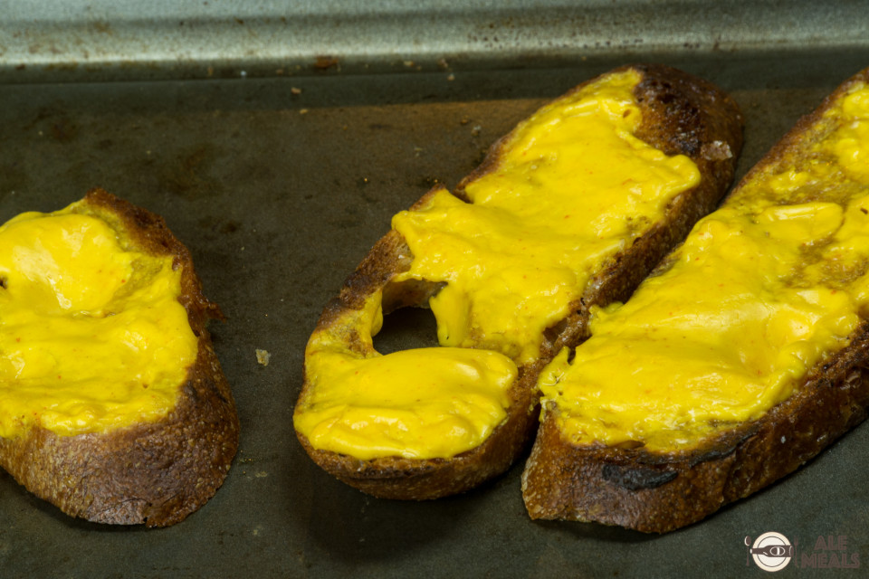 Sriracha Double IPA Welsh Rarebit out of the broiler