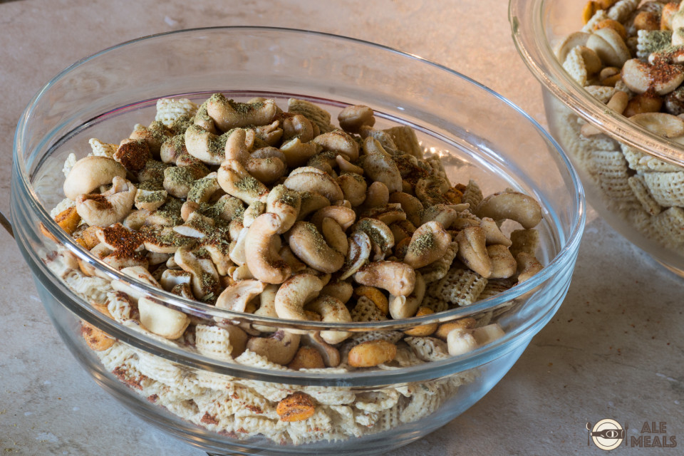 Chex, cashews, and Thai green curry
