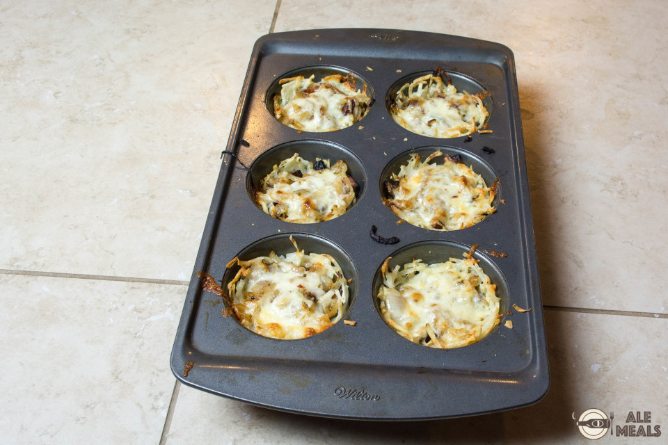 Beer Bacon Hash Brown Cups out of the oven