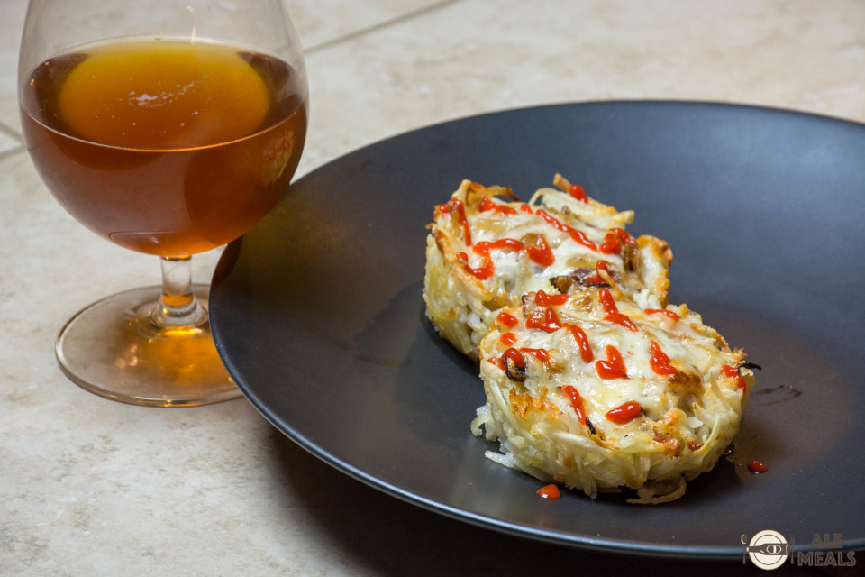 Beer Bacon Hash Brown Cups topped with Sriracha