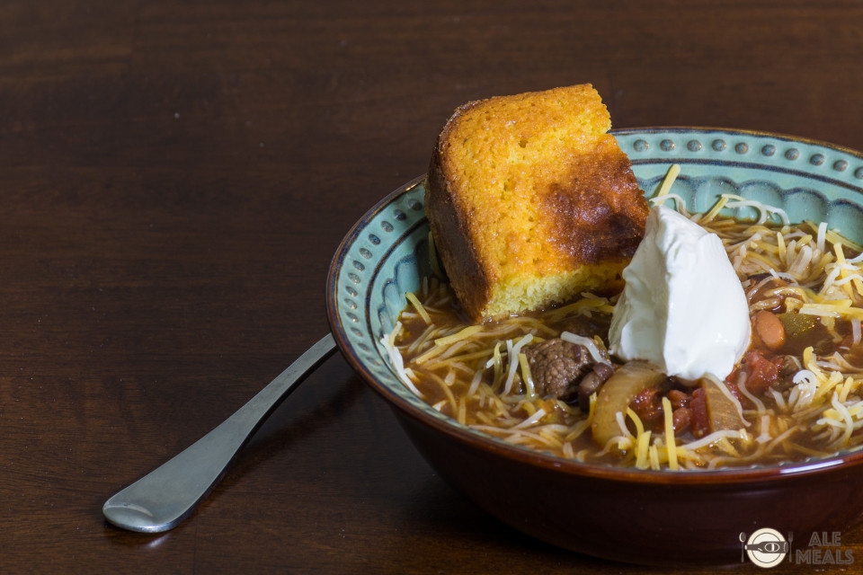 Mole Stout Beef Chili served with cornbread