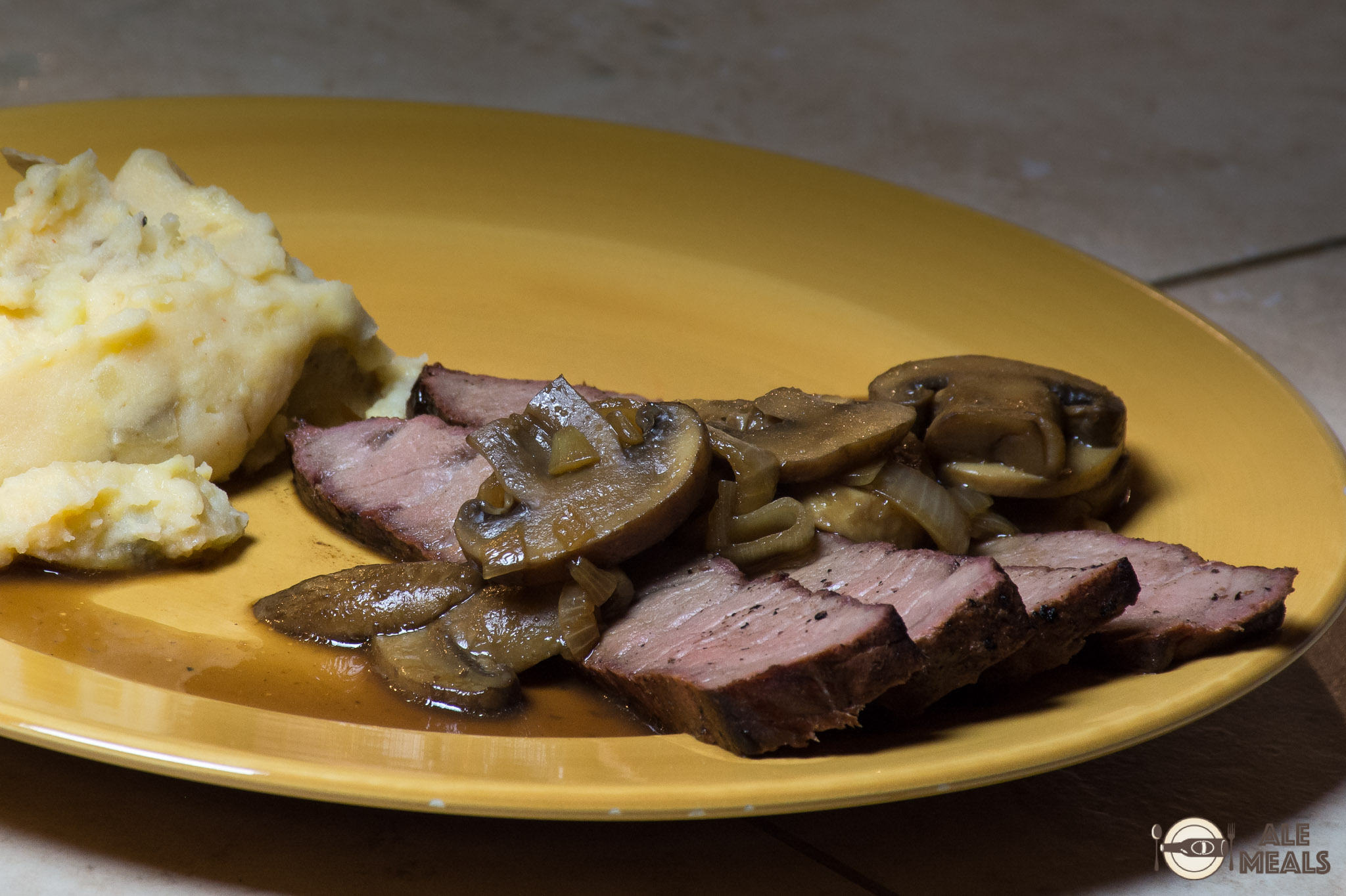 Smoked London Broil with Stout Mushroom Sauce