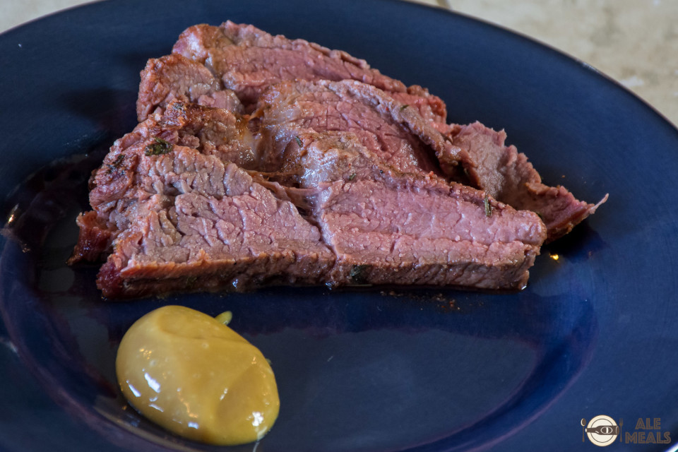Smoked Old Gus Elk Roast with Russian mustard