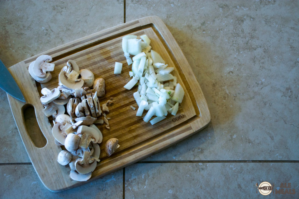 Good sauce always starts with onions and mushrooms