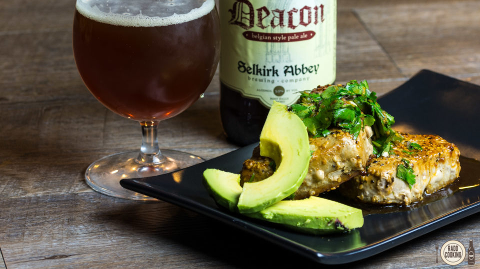 Pan-Seared Tuna with Pale Ale Cilantro-Ginger Relish and Deacon Pale Ale