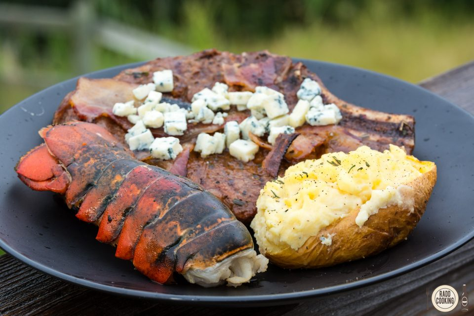 Grilled Butter Lobster Tails served with a reverse seared ribeye