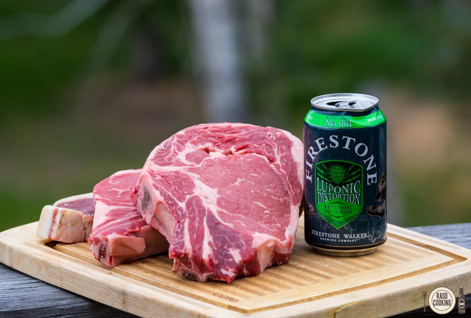 Firestone Walker Luponic Distortion No. 001 and ribeye - great night ahead