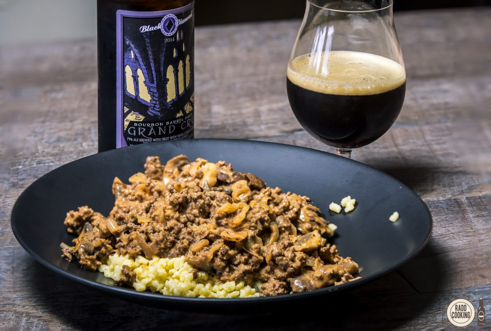 Porter Beef Stroganoff paired with Black Diamond Grand Cru Stout