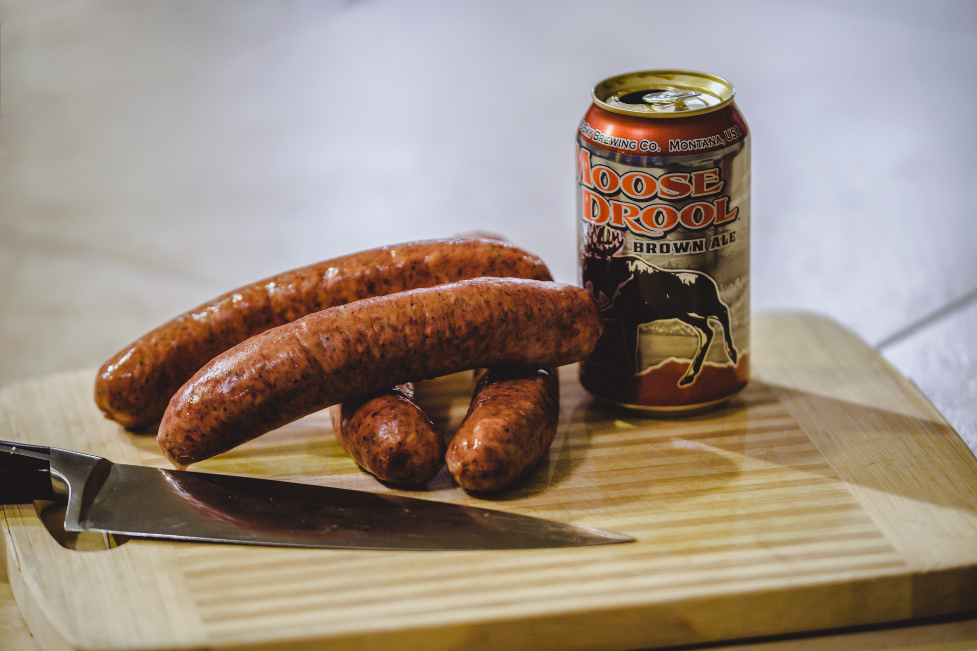 Starting with great kielbasa and Moose Drool from Big Sky Brewing
