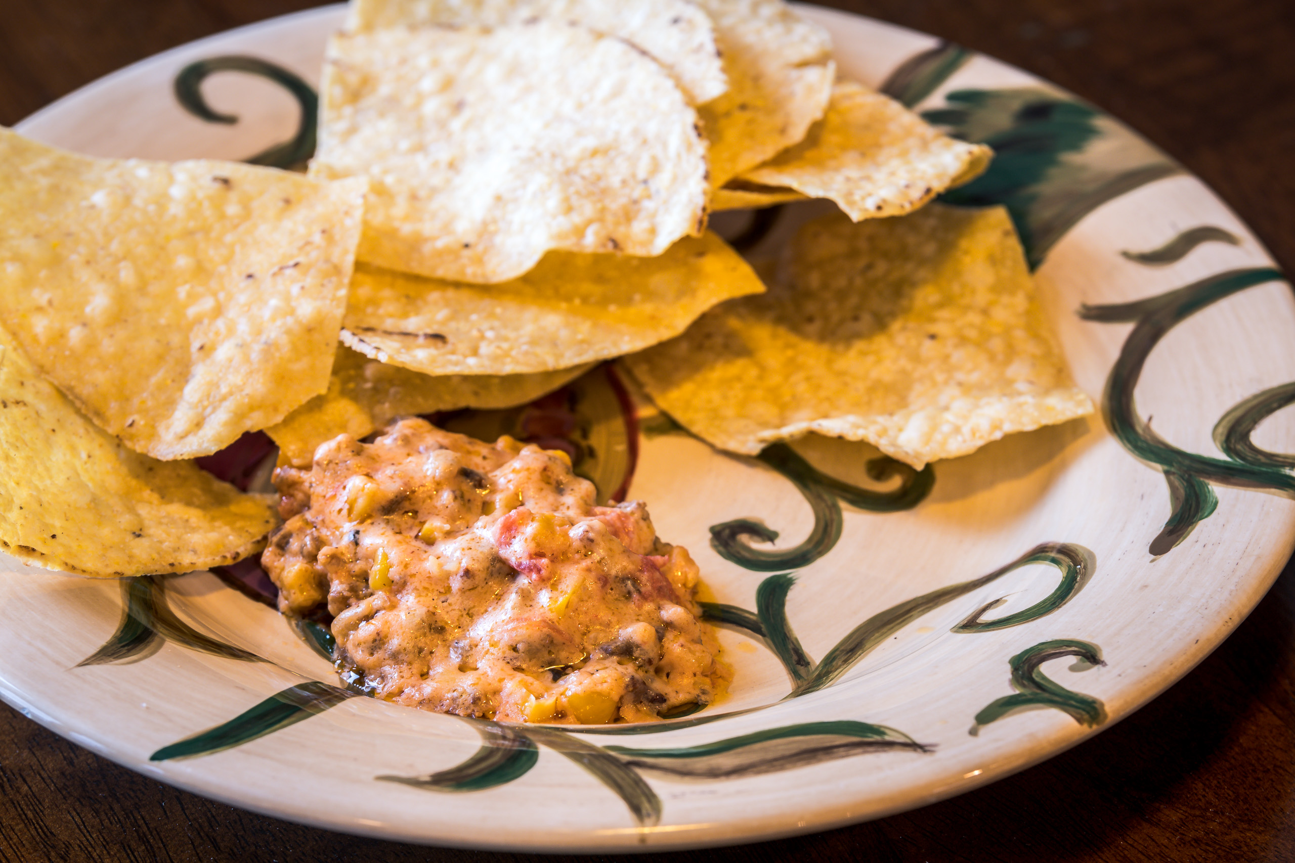 Spicy Sausage Dip with some tortilla chips