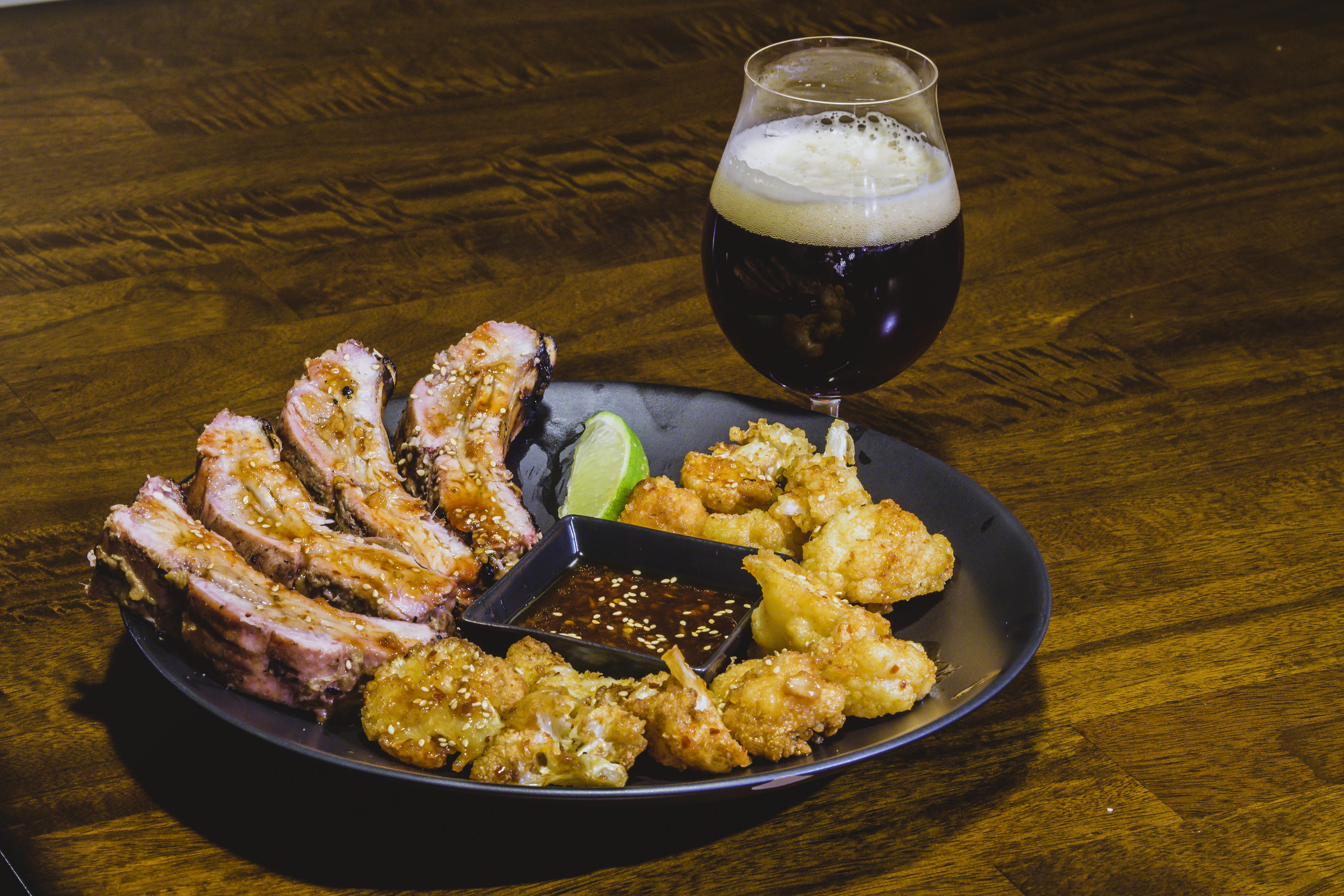 Korean-style Baby Back Ribs and Korean Fried Cauliflower