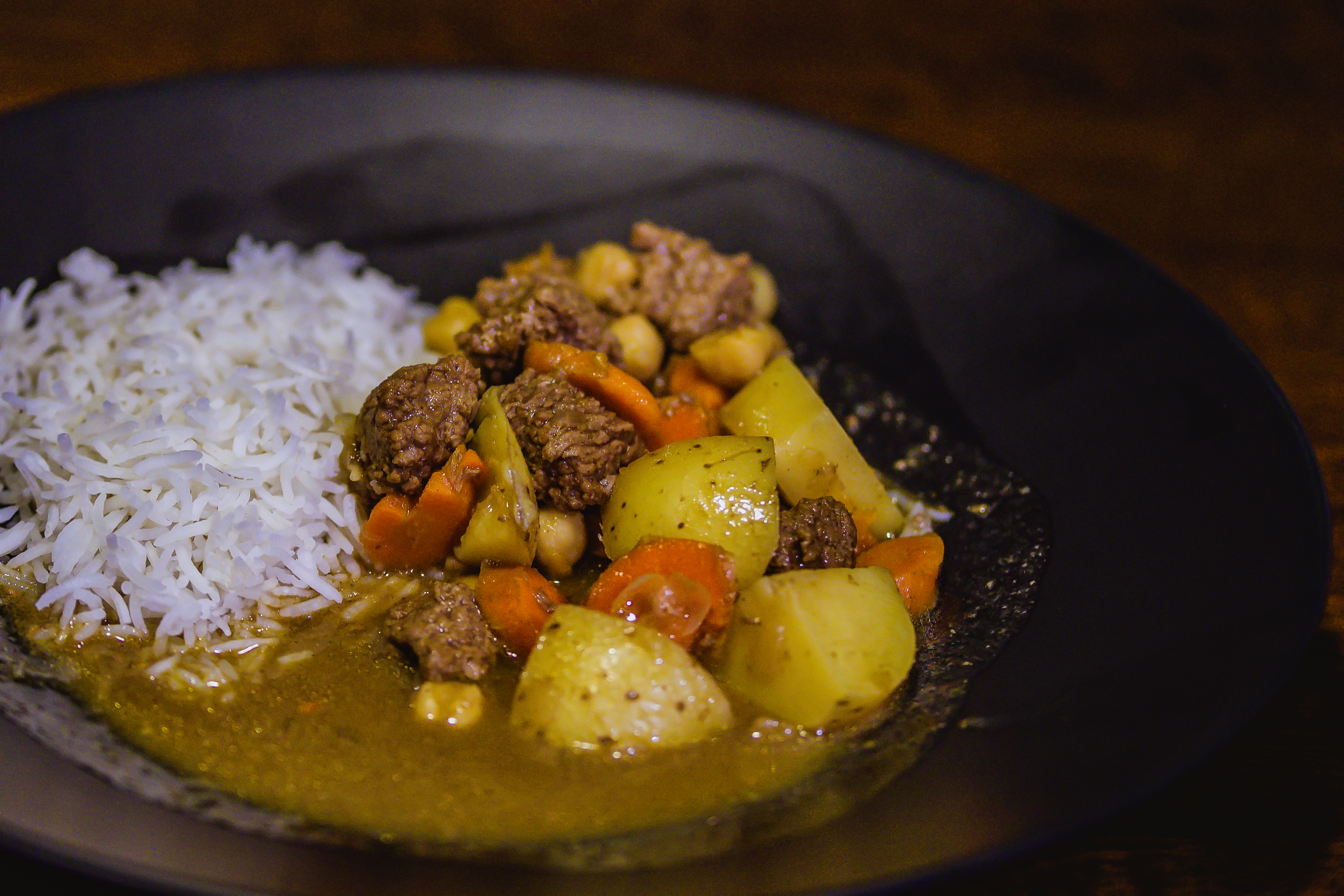 Porter Curry Beef Stew on the plate with basmati rice