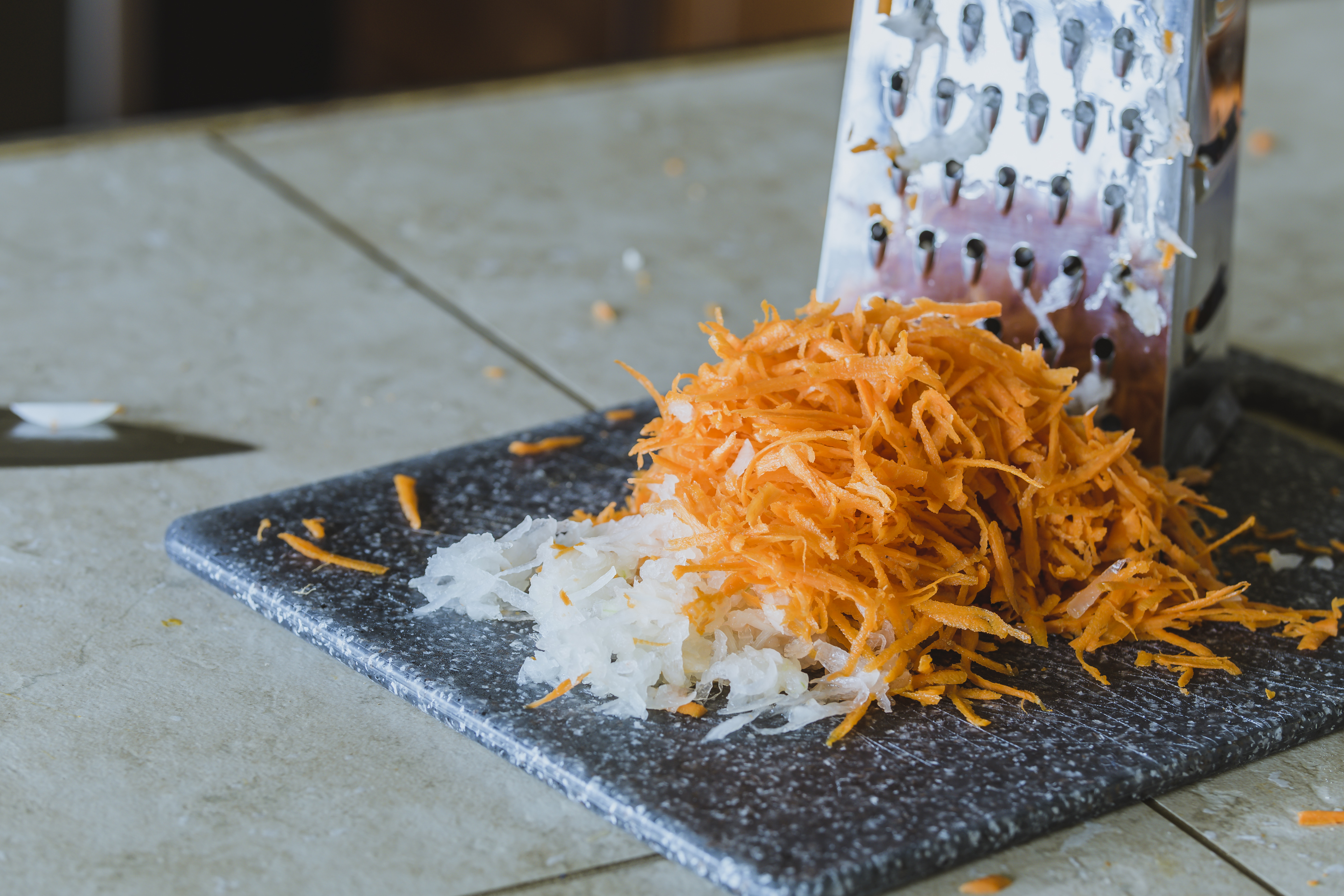 Grated carrots and onion